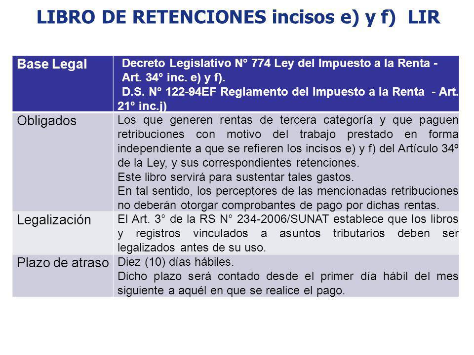 LIBRO DE RETENCIONES incisos e) y f) LIR