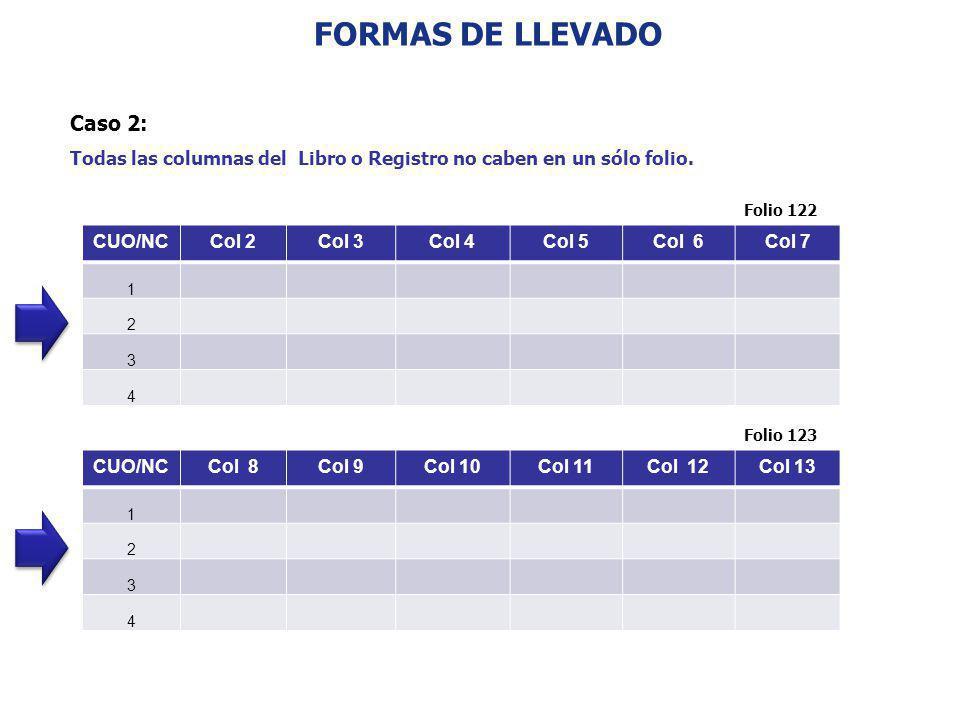 FORMAS DE LLEVADO Caso 2: