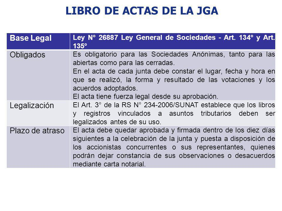 LIBRO DE ACTAS DE LA JGA Base Legal Obligados Legalización