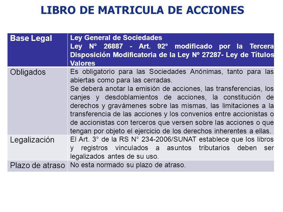LIBRO DE MATRICULA DE ACCIONES