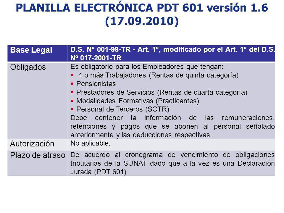 PLANILLA ELECTRÓNICA PDT 601 versión 1.6 (17.09.2010)