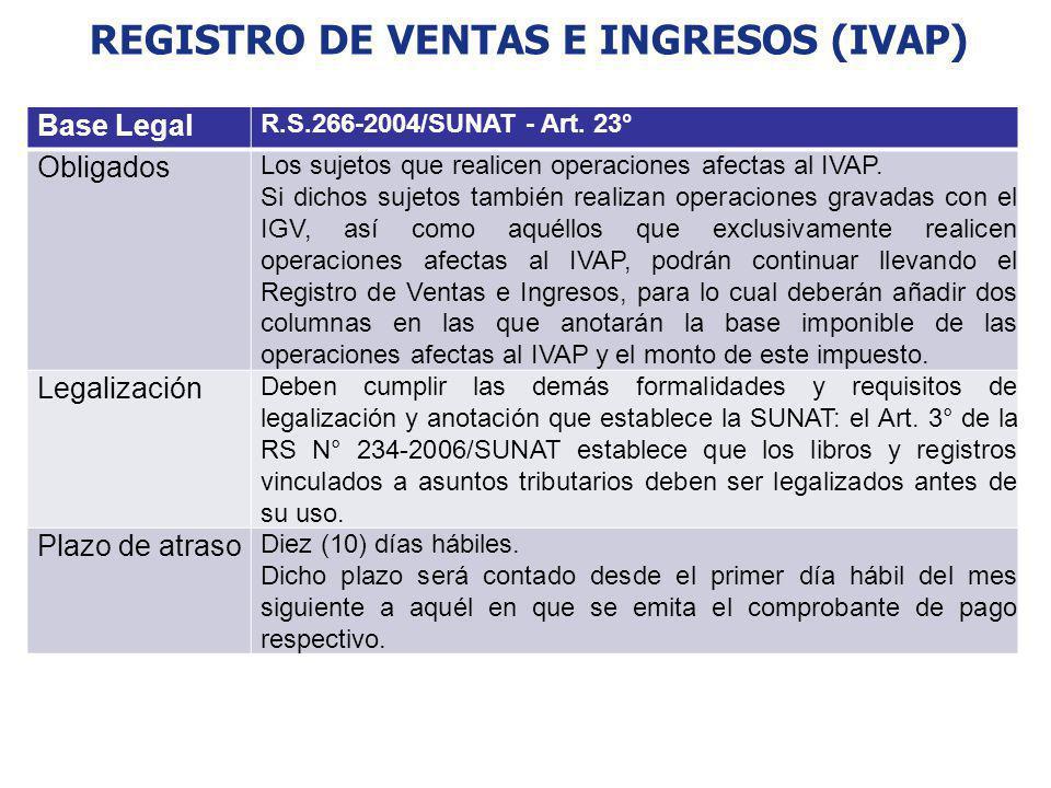REGISTRO DE VENTAS E INGRESOS (IVAP)
