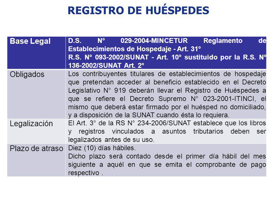 REGISTRO DE HUÉSPEDES Base Legal Obligados Legalización