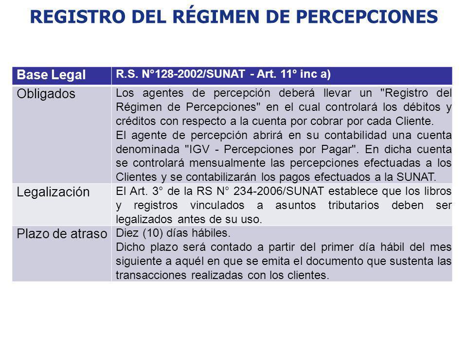 REGISTRO DEL RÉGIMEN DE PERCEPCIONES