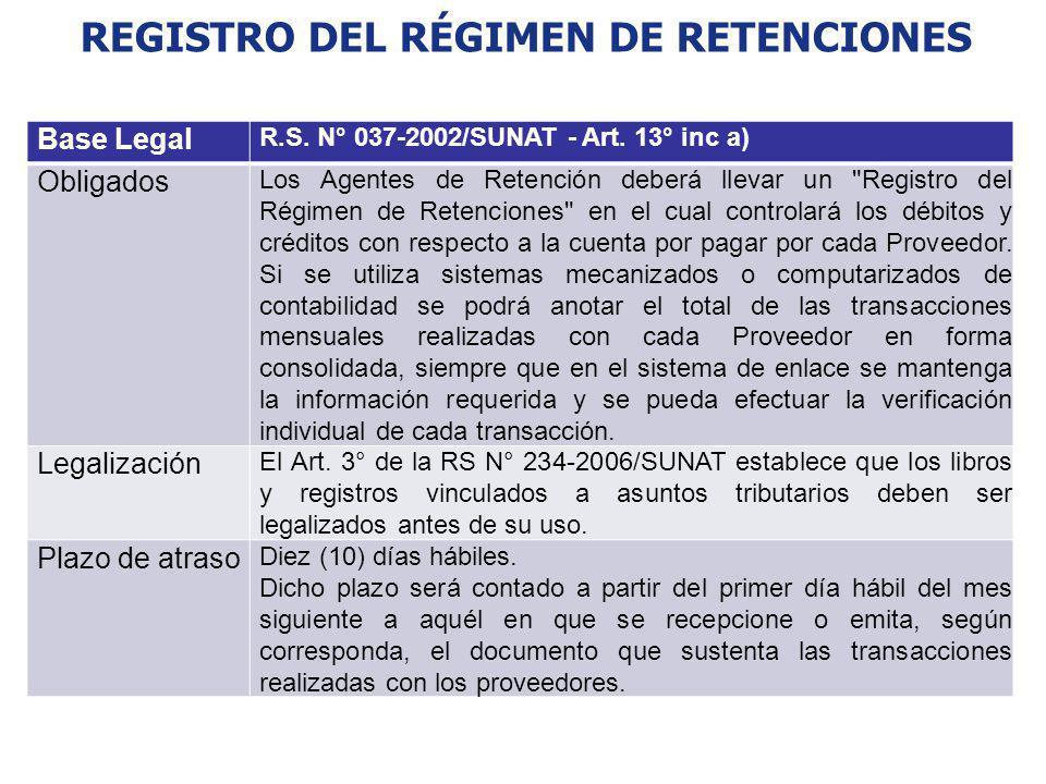 REGISTRO DEL RÉGIMEN DE RETENCIONES