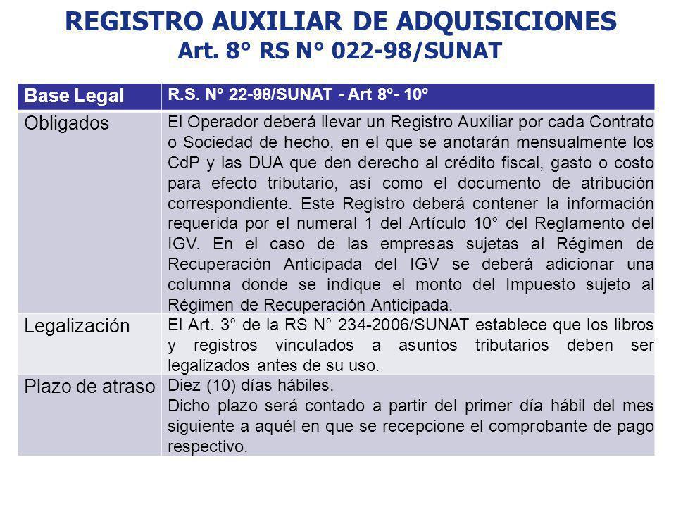 REGISTRO AUXILIAR DE ADQUISICIONES Art. 8° RS N° 022-98/SUNAT