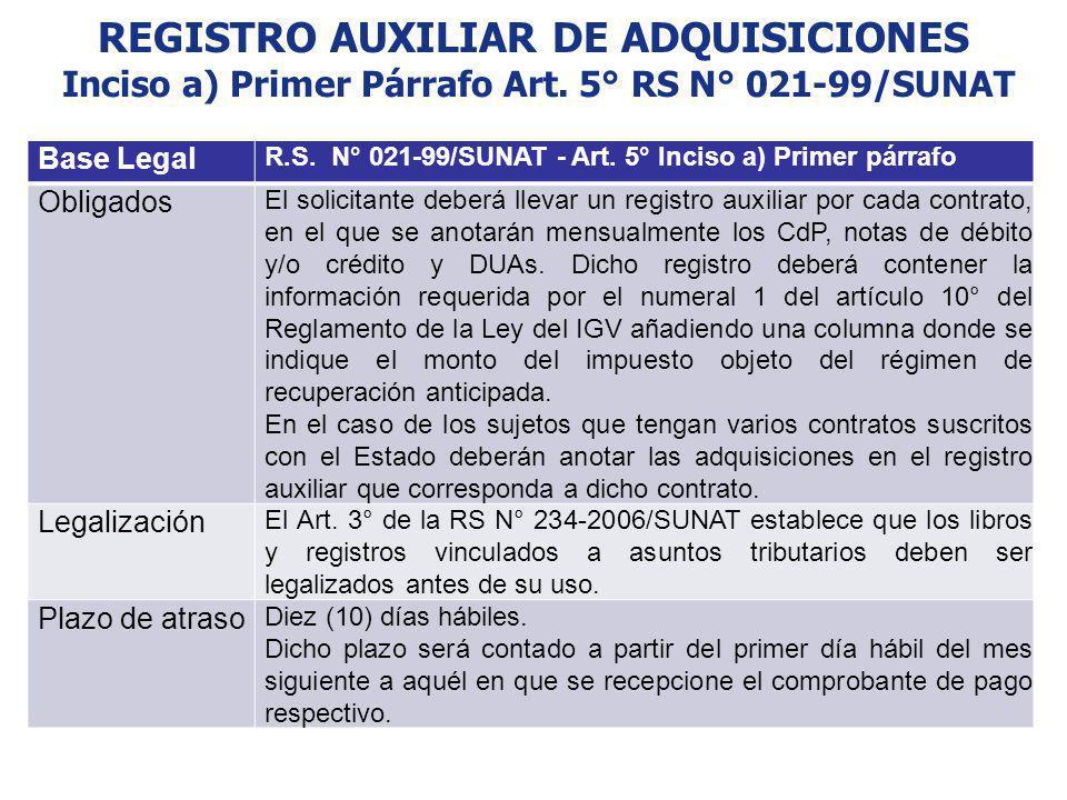 REGISTRO AUXILIAR DE ADQUISICIONES Inciso a) Primer Párrafo Art