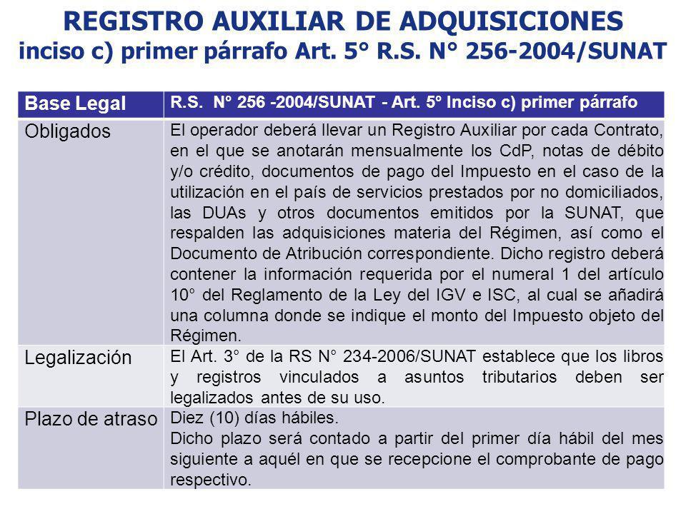 REGISTRO AUXILIAR DE ADQUISICIONES inciso c) primer párrafo Art. 5° R