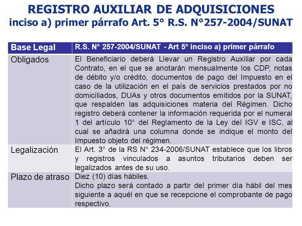 REGISTRO AUXILIAR DE ADQUISICIONES inciso a) primer párrafo Art. 5° R