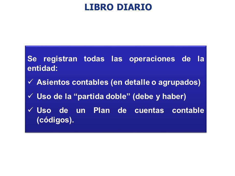 LIBRO DIARIO Se registran todas las operaciones de la entidad: