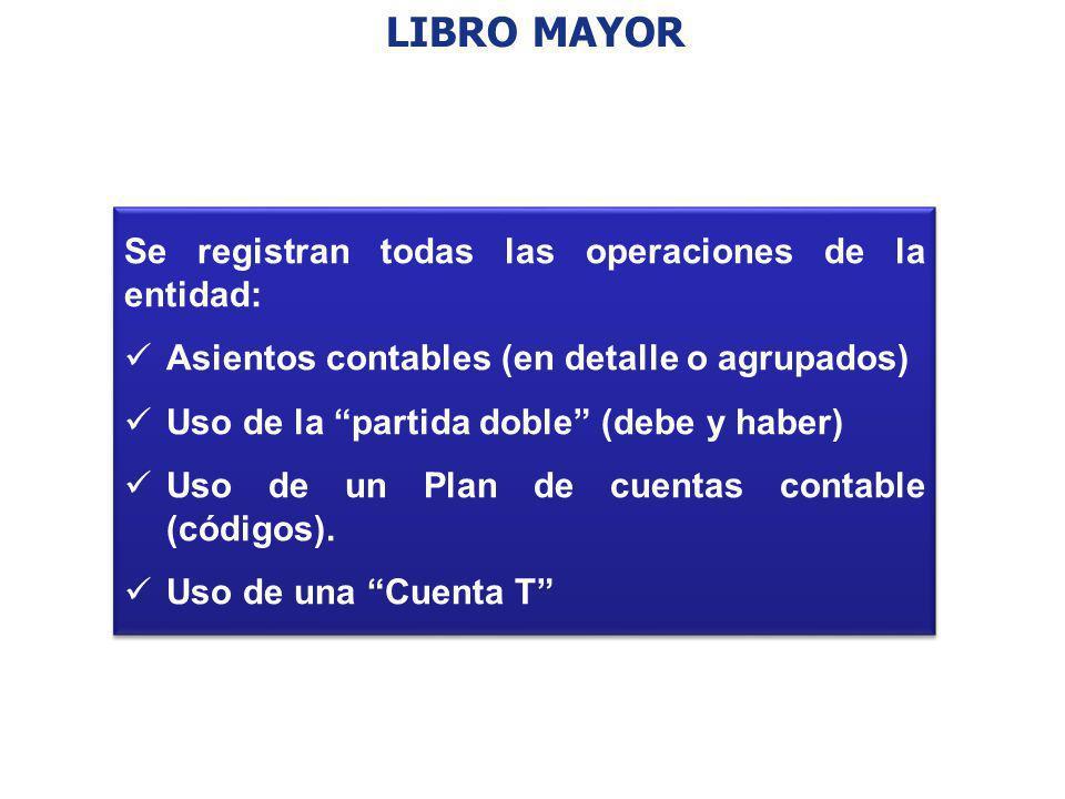 LIBRO MAYOR Se registran todas las operaciones de la entidad: