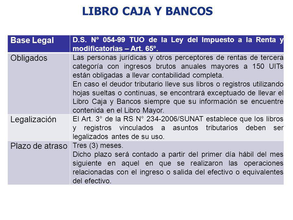 LIBRO CAJA Y BANCOS Base Legal Obligados Legalización Plazo de atraso