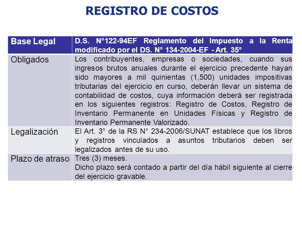 REGISTRO DE COSTOS Base Legal Obligados Legalización Plazo de atraso