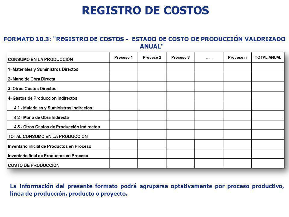 REGISTRO DE COSTOS FORMATO 10.3: REGISTRO DE COSTOS - ESTADO DE COSTO DE PRODUCCIÓN VALORIZADO ANUAL