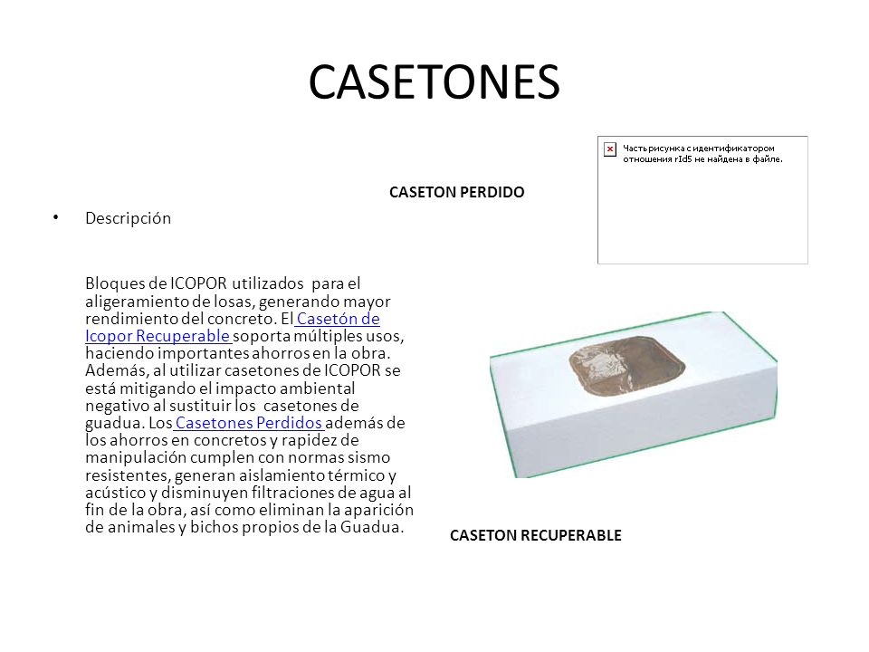 CASETONES Descripción