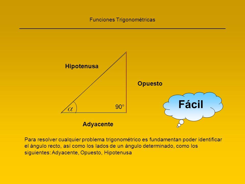 Fácil Hipotenusa Opuesto 90° Adyacente