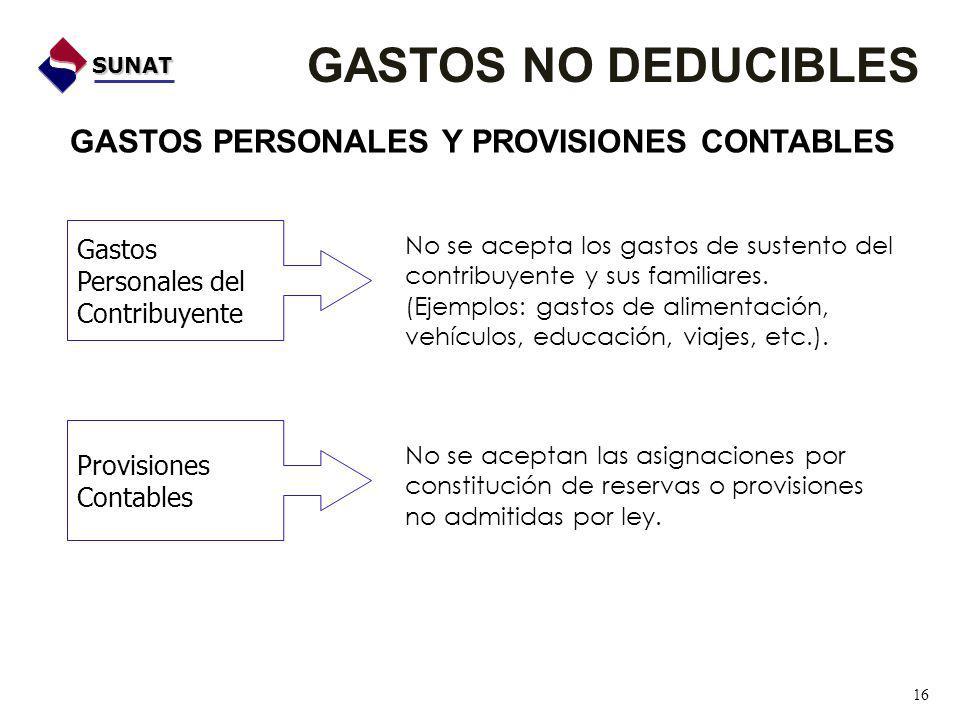 GASTOS NO DEDUCIBLES GASTOS PERSONALES Y PROVISIONES CONTABLES Gastos