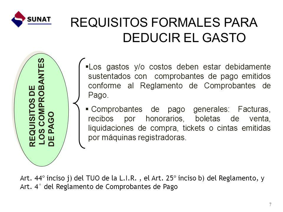 REQUISITOS FORMALES PARA DEDUCIR EL GASTO