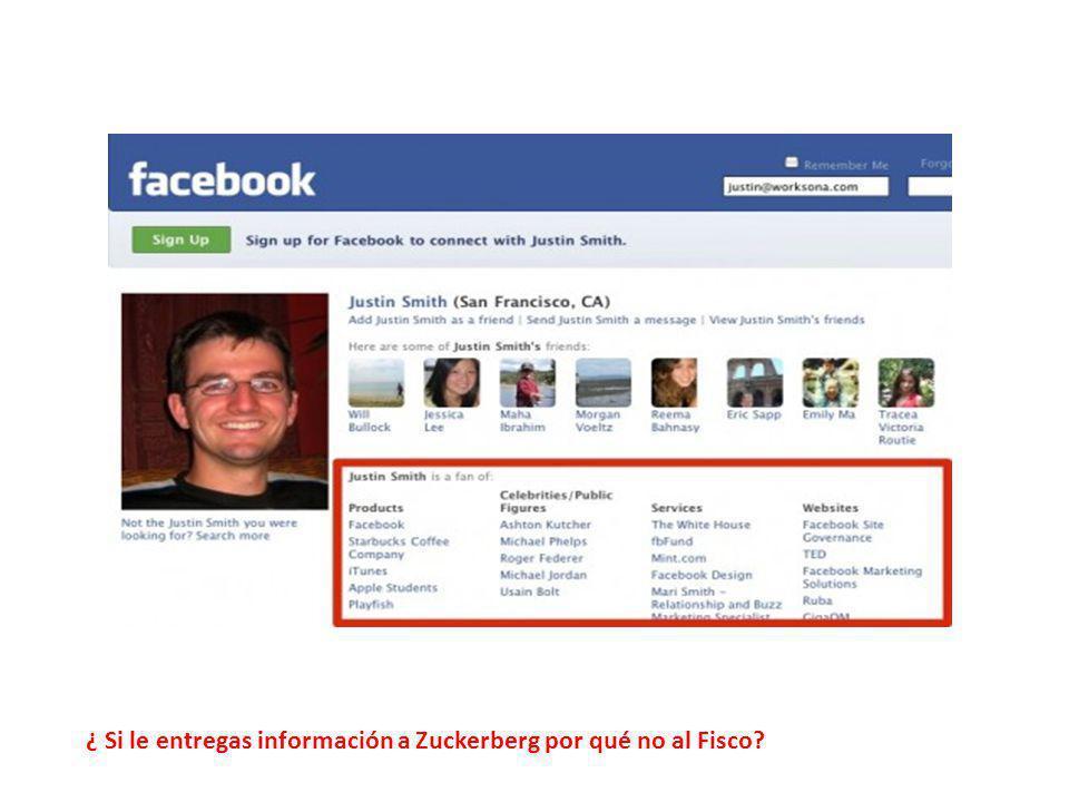 ¿ Si le entregas información a Zuckerberg por qué no al Fisco