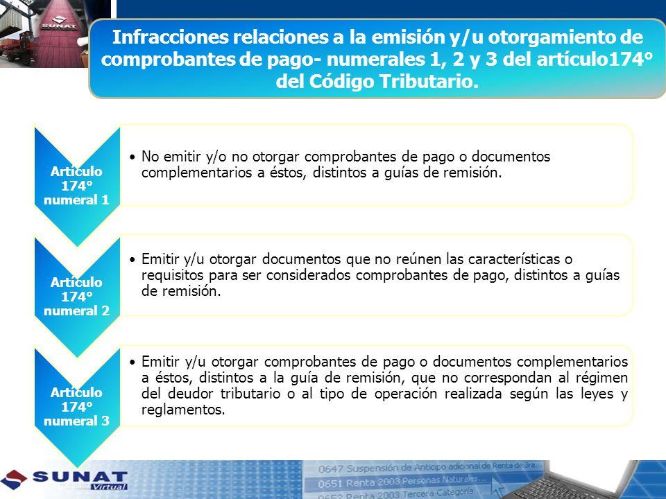 Infracciones relaciones a la emisión y/u otorgamiento de comprobantes de pago- numerales 1, 2 y 3 del artículo174° del Código Tributario.