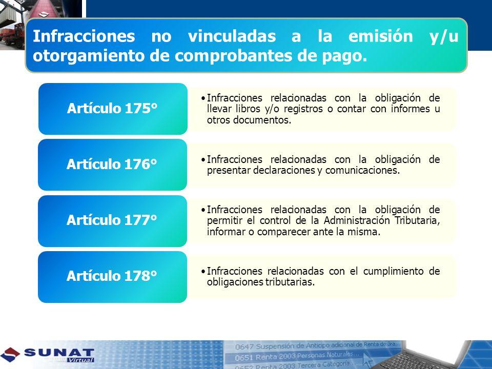Infracciones no vinculadas a la emisión y/u otorgamiento de comprobantes de pago.
