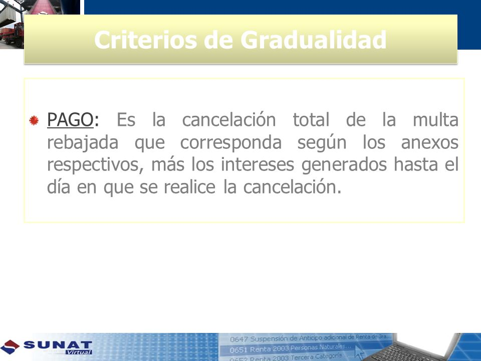 Criterios de Gradualidad