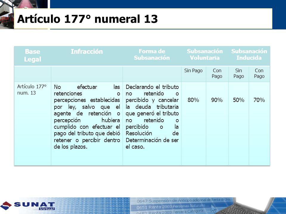 Artículo 177° numeral 13 Base Legal Infracción Forma de Subsanación