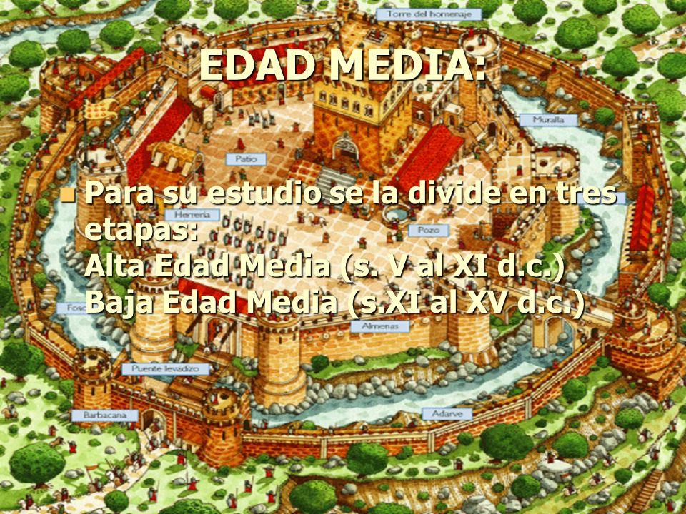 EDAD MEDIA: Para su estudio se la divide en tres etapas: Alta Edad Media (s.