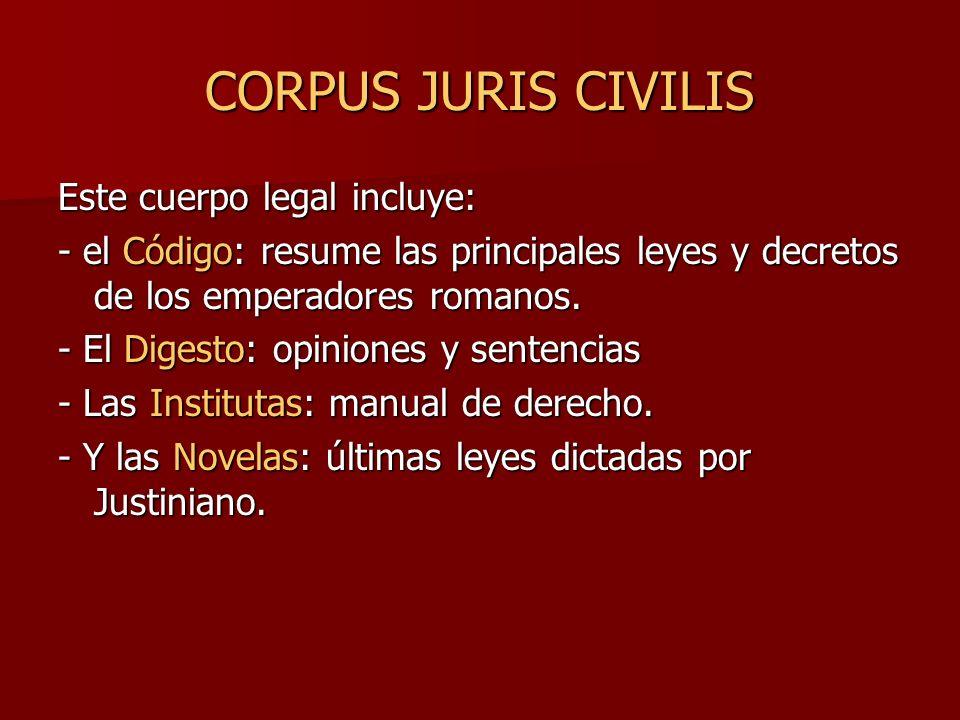 CORPUS JURIS CIVILIS Este cuerpo legal incluye: