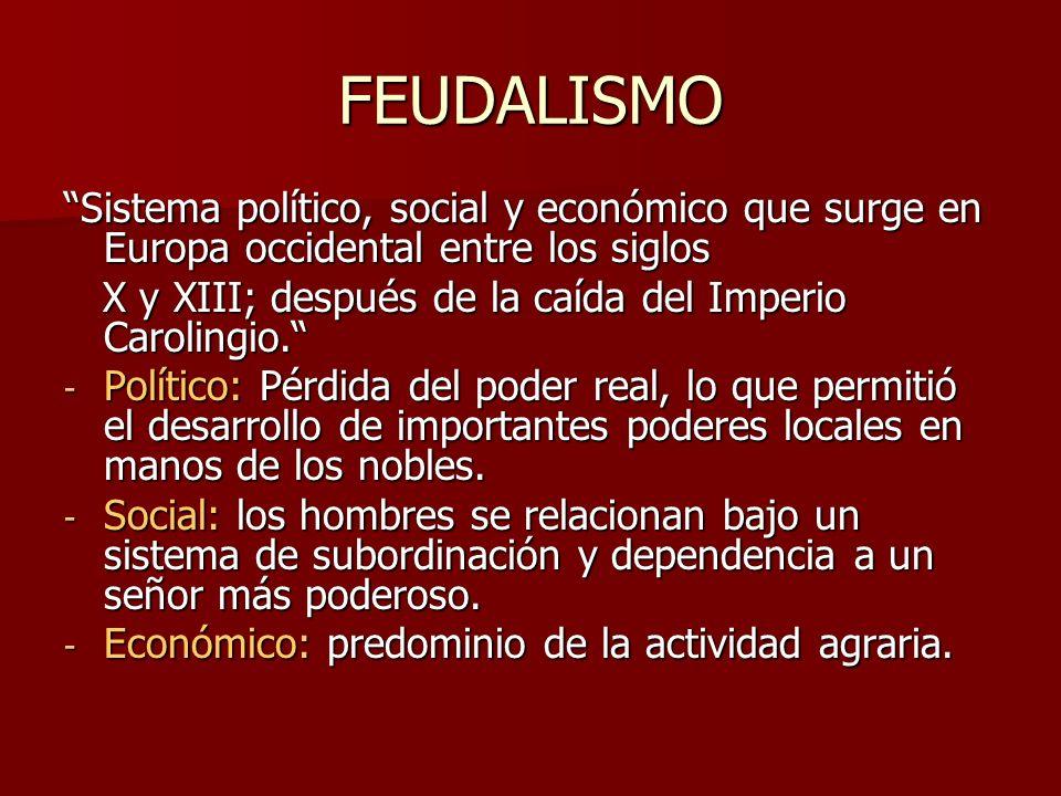 FEUDALISMO Sistema político, social y económico que surge en Europa occidental entre los siglos.
