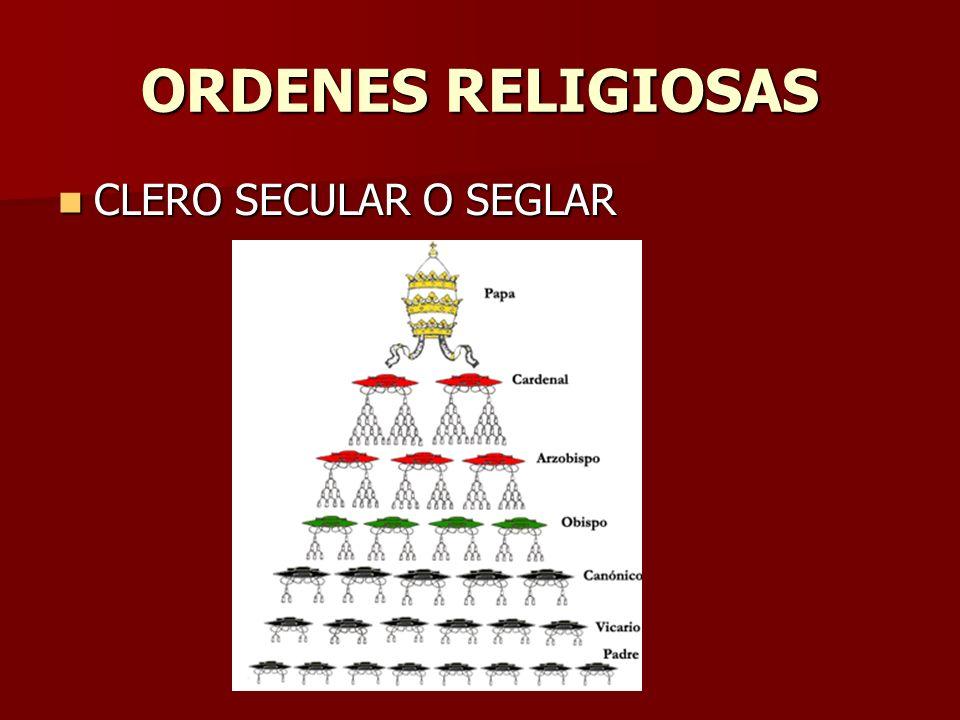 ORDENES RELIGIOSAS CLERO SECULAR O SEGLAR