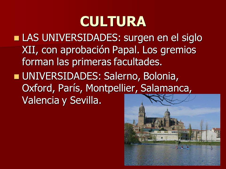 CULTURA LAS UNIVERSIDADES: surgen en el siglo XII, con aprobación Papal. Los gremios forman las primeras facultades.