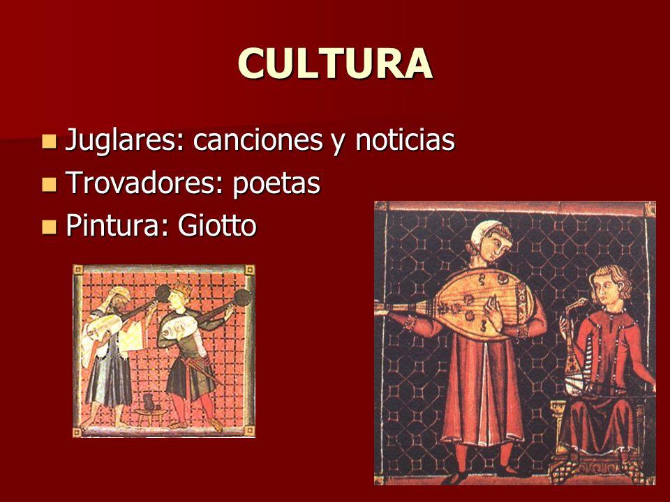 CULTURA Juglares: canciones y noticias Trovadores: poetas