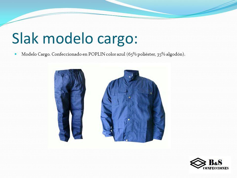 Slak modelo cargo: Modelo Cargo. Confeccionado en POPLIN color azul (65% poliéster, 35% algodón).