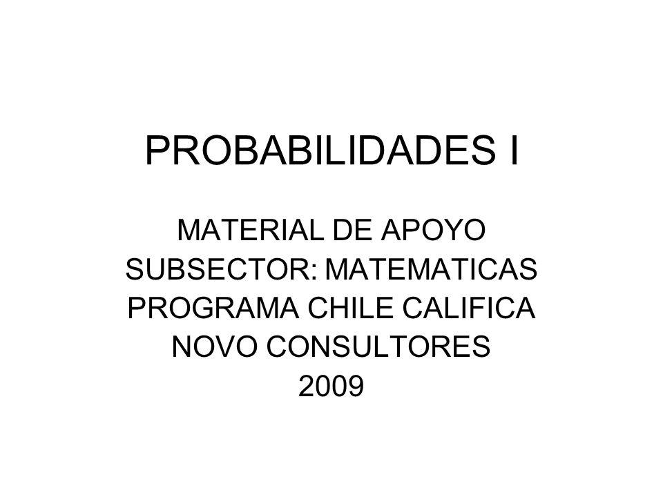 PROBABILIDADES I MATERIAL DE APOYO SUBSECTOR: MATEMATICAS