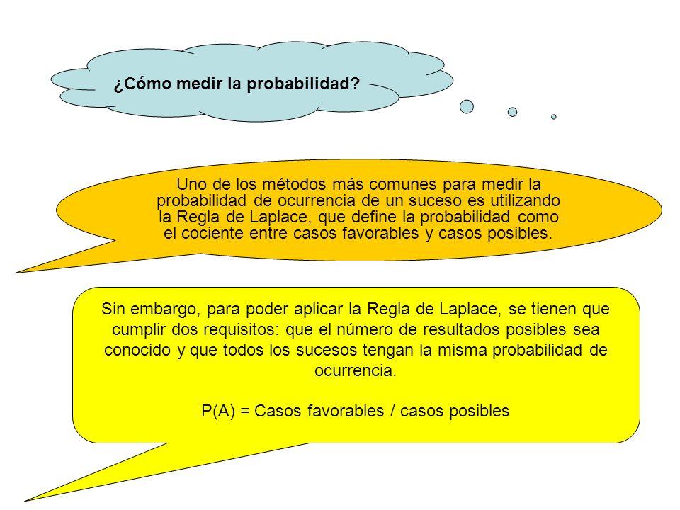 P(A) = Casos favorables / casos posibles