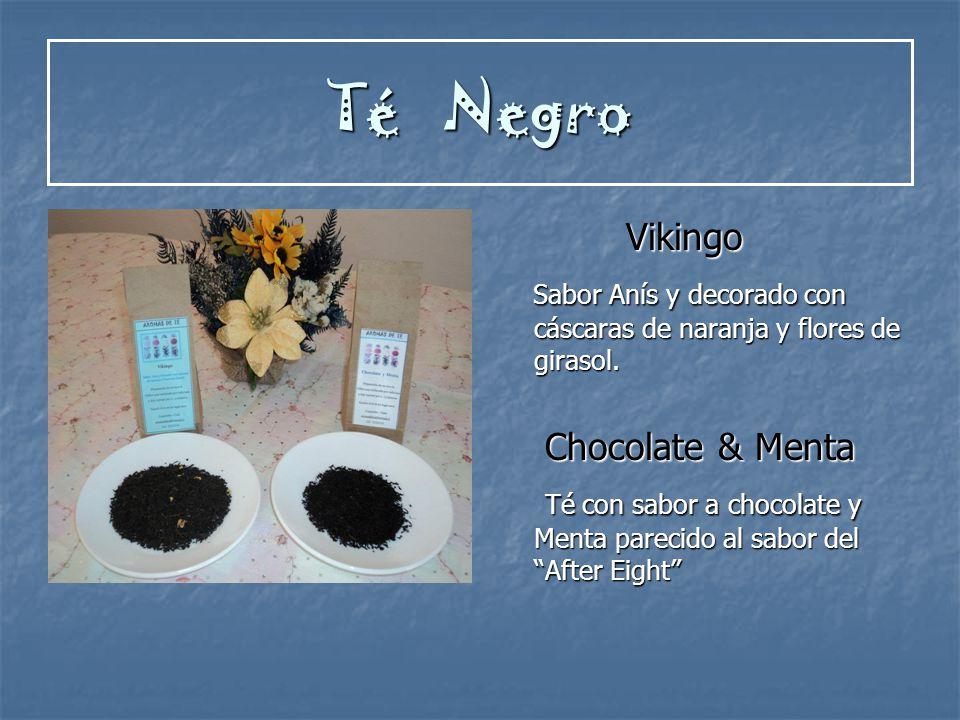 Té Negro Vikingo. Sabor Anís y decorado con cáscaras de naranja y flores de girasol. Chocolate & Menta.