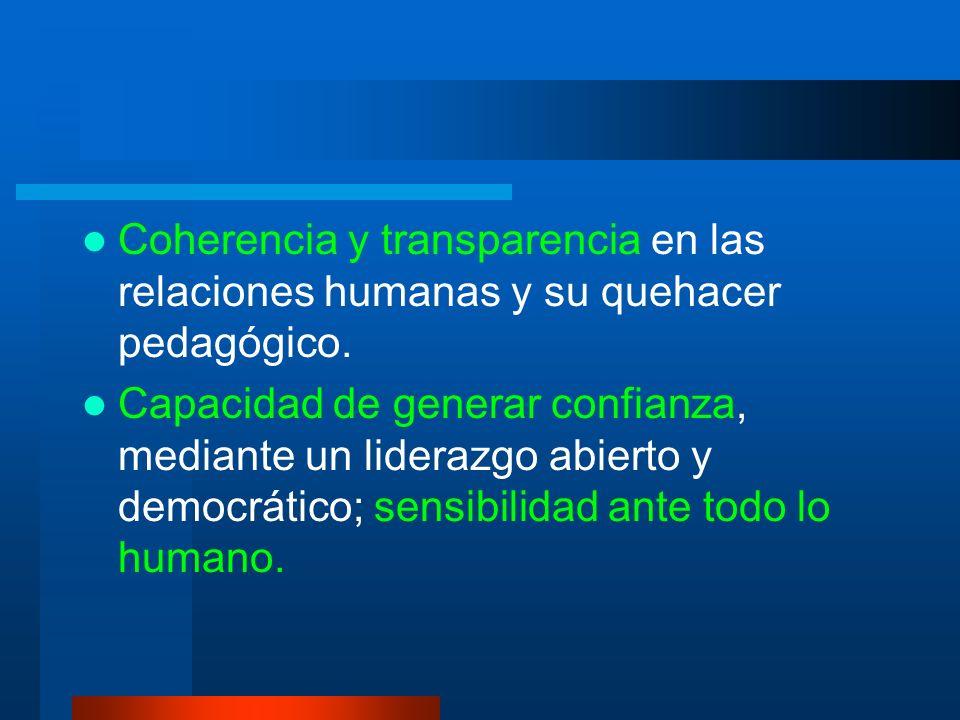 Coherencia y transparencia en las relaciones humanas y su quehacer pedagógico.