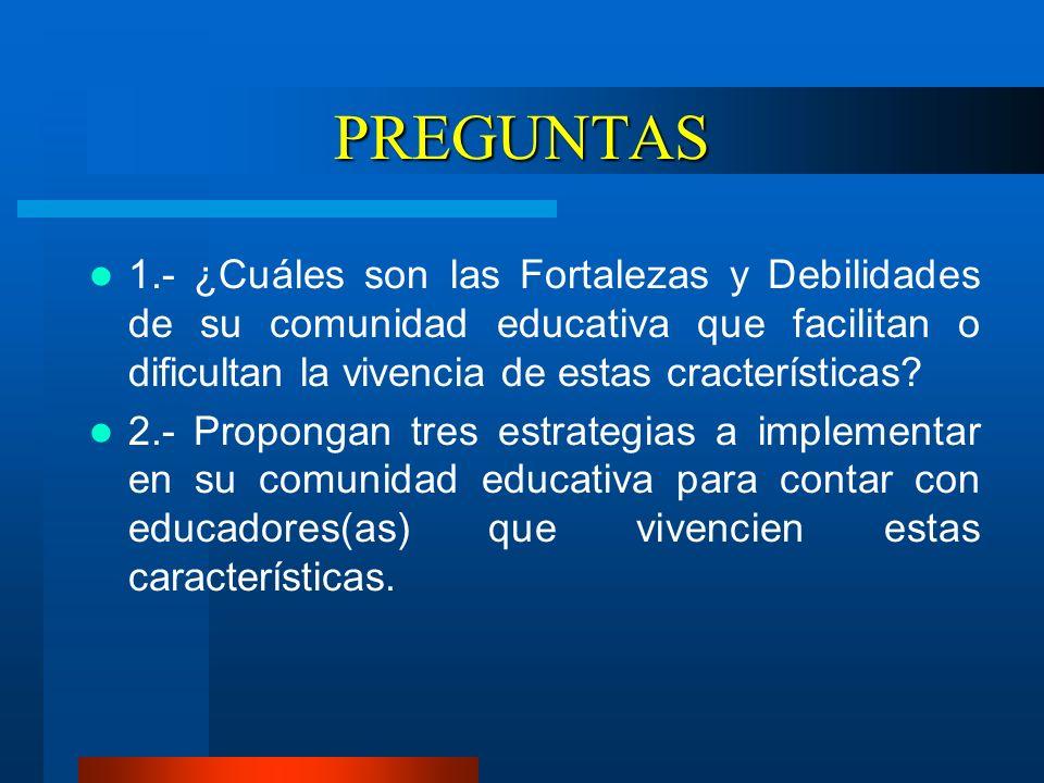 PREGUNTAS 1.- ¿Cuáles son las Fortalezas y Debilidades de su comunidad educativa que facilitan o dificultan la vivencia de estas cracterísticas