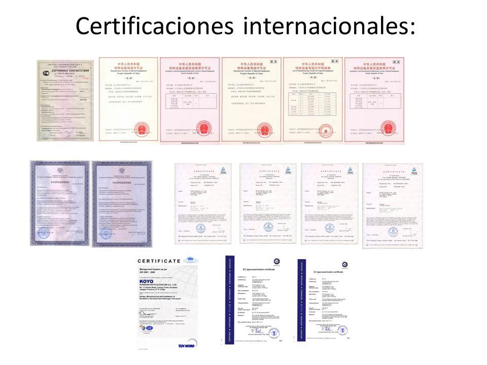 Certificaciones internacionales: