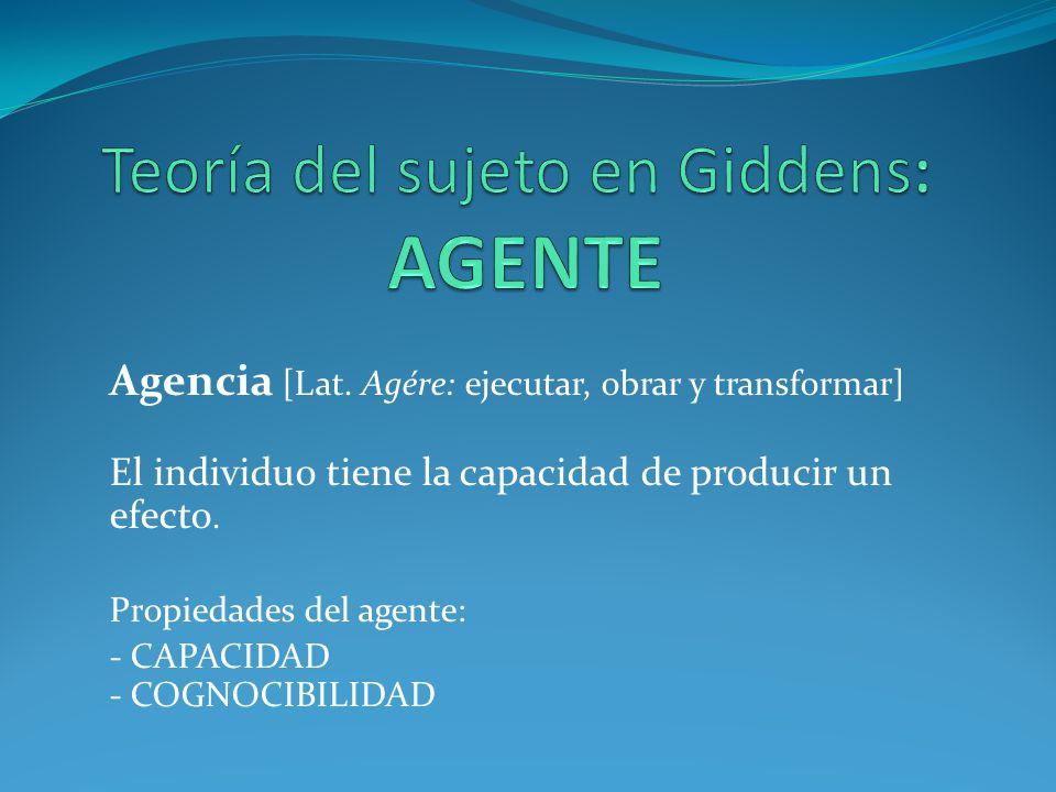 Teoría del sujeto en Giddens: AGENTE