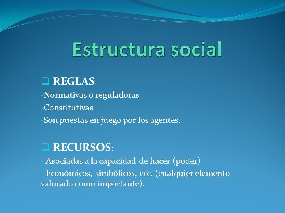 Estructura social REGLAS: RECURSOS: Normativas o reguladoras