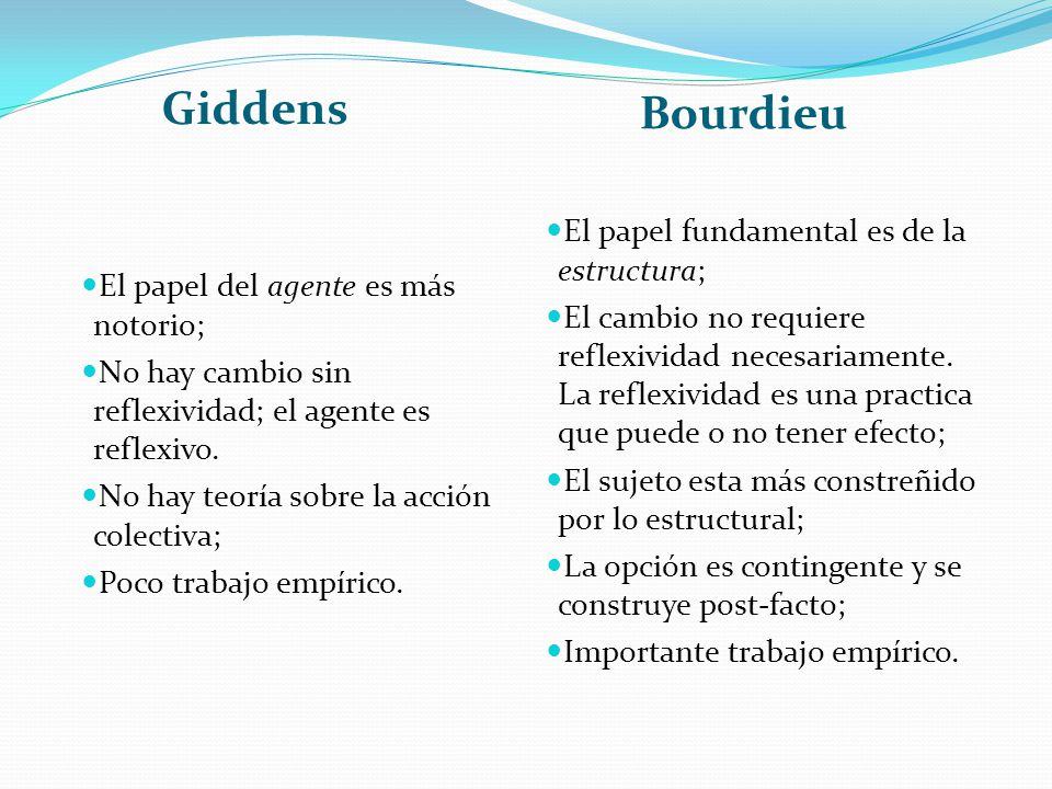 Giddens Bourdieu El papel fundamental es de la estructura;