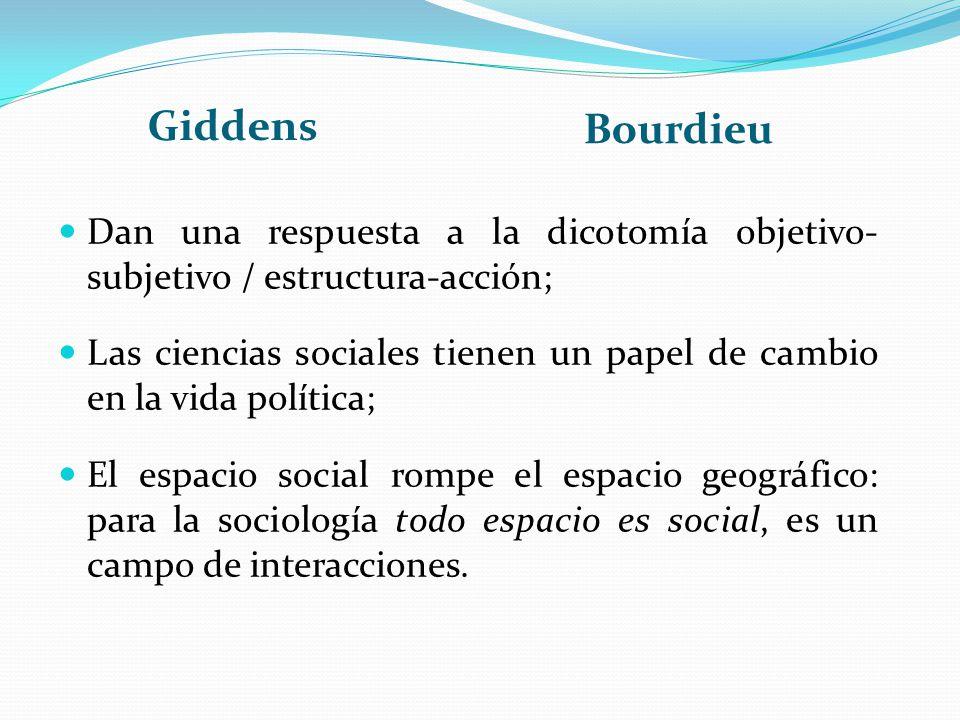 Giddens Bourdieu. Dan una respuesta a la dicotomía objetivo- subjetivo / estructura-acción;