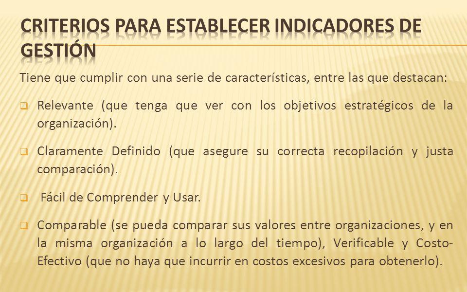Criterios para establecer indicadores de gestión