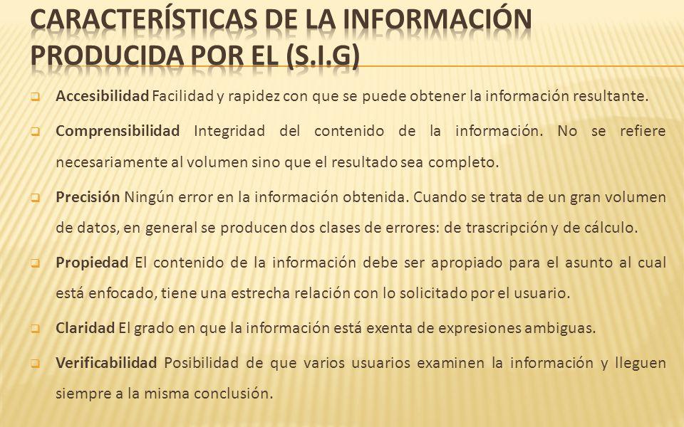 CARACTERÍSTICAS DE LA INFORMACIÓN PRODUCIDA POR EL (S.I.G)