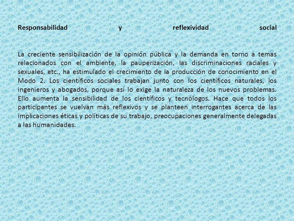 Responsabilidad y reflexividad social La creciente sensibilización de la opinión pública y la demanda en torno a temas relacionados con el ambiente, la pauperización, las discriminaciones raciales y sexuales, etc., ha estimulado el crecimiento de la producción de conocimiento en el Modo 2.
