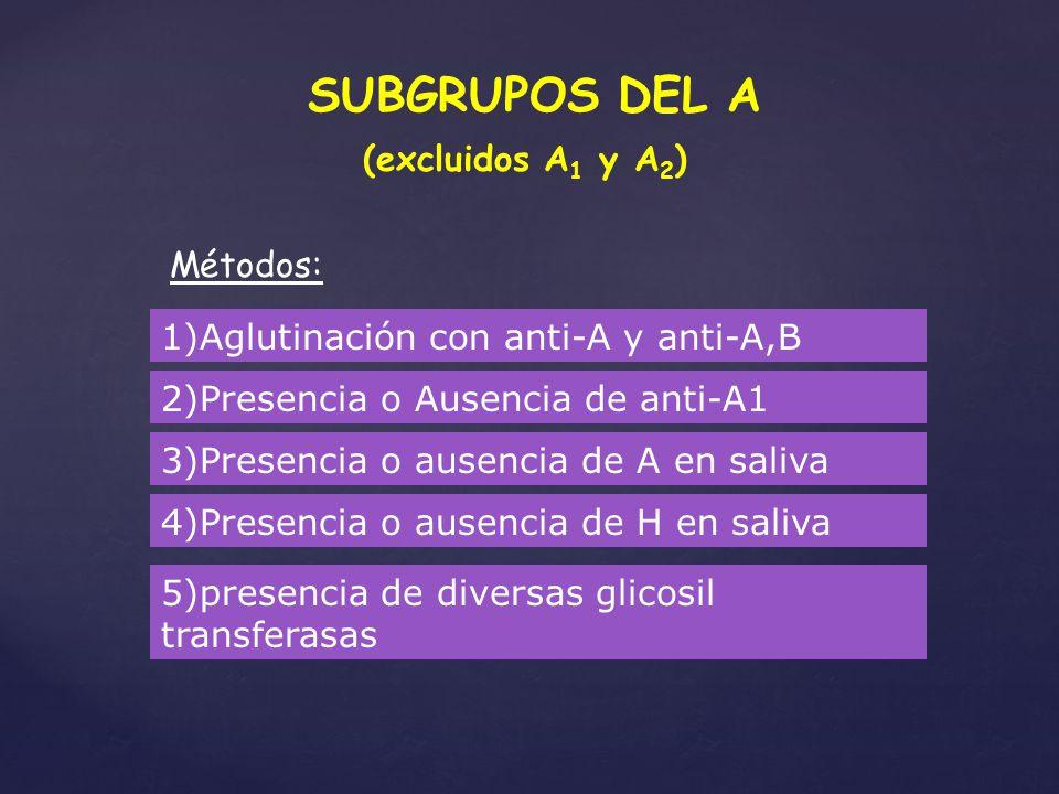 SUBGRUPOS DEL A (excluidos A1 y A2) Métodos:
