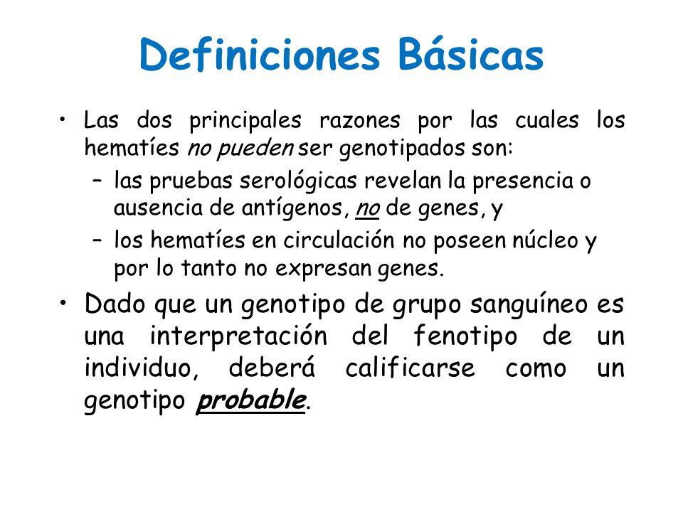 Definiciones Básicas Las dos principales razones por las cuales los hematíes no pueden ser genotipados son: