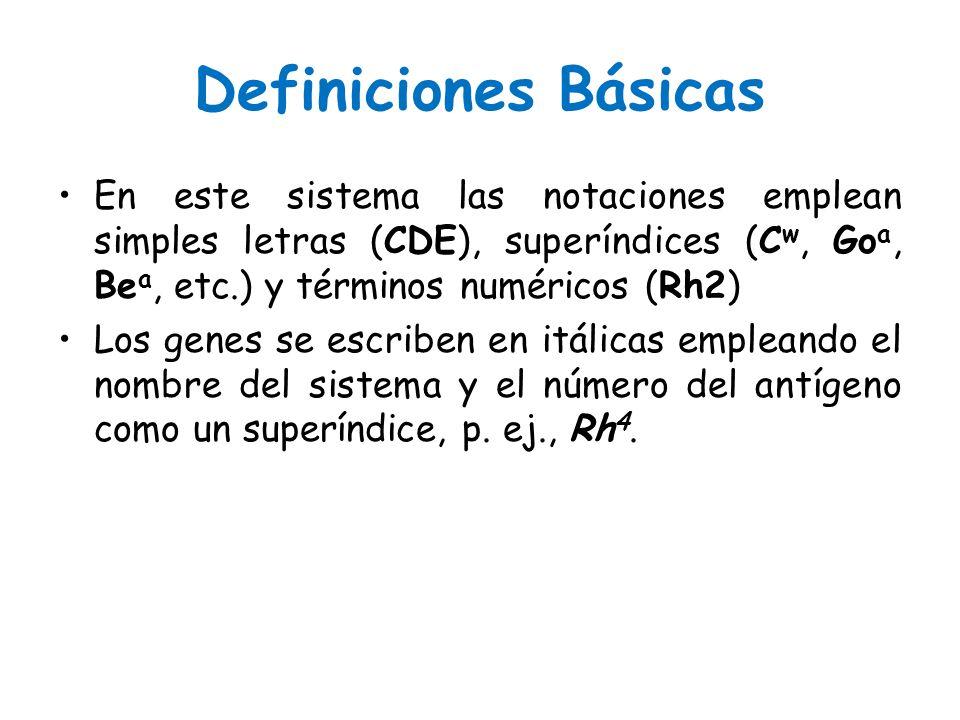 Definiciones Básicas En este sistema las notaciones emplean simples letras (CDE), superíndices (Cw, Goa, Bea, etc.) y términos numéricos (Rh2)